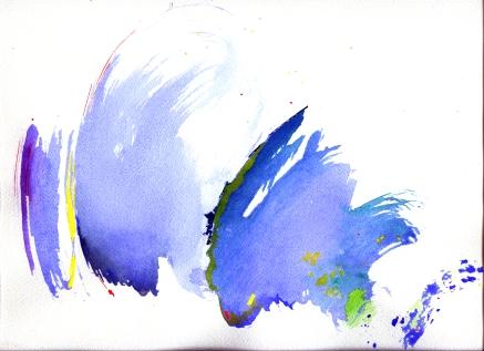 """""""Bruissement d'Ailes"""", aquarelle, (20x30) cm Visuel pour le Festival Franz Liszt, Munster, 2000, diffusion dans le magazine Diapason"""